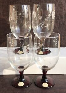 4 Princess House Exclusive Ruby Stemmed Beautiful Glasses (mint condition)