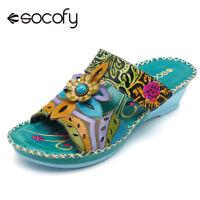 SOCOFY Women Bohemian Leather Adjustable Hook Loop Printing Forest Sandals 5 *