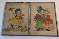 VINTAGE NURSERY RHYME ART W/CATS.GEORGIE PORGIE/MARY HAD A LITTLE LAMB, SIGNED