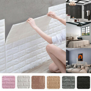 10pcs Large 3D Soft Tile Brick Wall Sticker Self-adhesive Waterproof Foam Panel