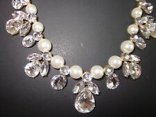 statement necklace  faux pearls and clear white stones gold tone Valentine gift