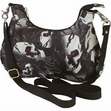 Black Hobo Purse Convertible Waist Bag Fanny Pack Skull Red Eye Biker Belt Tote