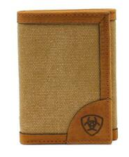 Ariat Western Mens Wallet Trifold Flip Case Canvas Fabric Leather Brown A3541944
