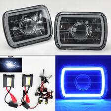 "7X6"" 8K HID Xenon H4 Black Chrome Projector Glass CCFL Blue Halo Headlights Plym"