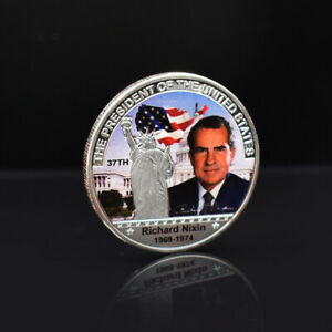 Nixon Silver Plated Coin Us 37th President Challenge Metal Coins for Collection