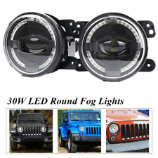 30W LED Foglights White Angel Eyes Halo Ring Lamp Universal For JEEP Wrangler JK