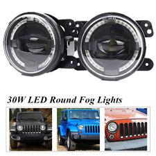 30W LED Foglights White Angel Eyes Halo Ring Lamp Universal For JEEP Wrangler JK