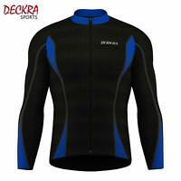 Deckra Mens Cycling Jersey Full Sleeves Thermal Cold Wear Fleece Bike Top Racing