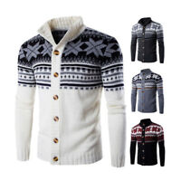 Men's Christmas Sweater Cardigan Winter Warm Knitwear Knitted  Jacket