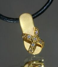 Golden Slippers Pendant With Tiny Created Diamond + Nacklace (#006)
