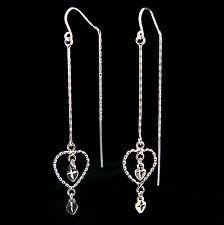 Sterling Silver OPEN HEART THREADER EARRINGS with 'Sparkle-Plenty'!