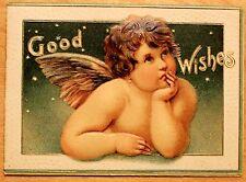 Original Vintage Frances Ridley Havergal Verse Embossed Christmas Card