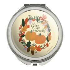 Give Thanks with Pumpkins Thanksgiving Compact Purse Handbag Makeup Mirror
