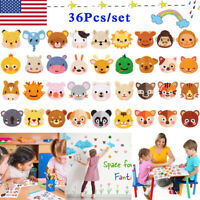 36Pcs 5D Diamond Painting Stickers Kits for Kids DIY Crafts Toy Animals Shape