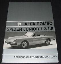 Betriebsanleitung Alfa Romeo Spider Junior 1.3 / 1.6 / 1300 / 1600 Mai 1972!