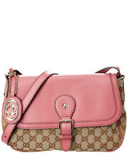 Gucci Brown Gg Canvas & Pink Leather Sukey Shoulder Bag