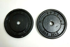 "Pair 12 1/2 POUND YORK BARBELL Weight Plates 25 lb total Vtg Cast Iron 1"" Bar"