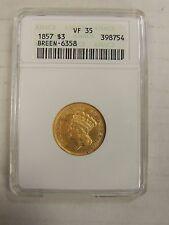 1857 $3 Gold Indian Princess Three Dollars US ANACS VF35 # 398754