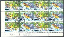 PAPUA NEWGUINEA 1995 Tourisme se-tenant bl of 12 MAJOR VARIETY MISSING OVERPRINT