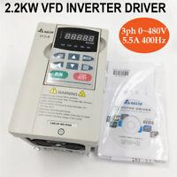 Delta 3HP 2.2KW VFD Inverter VFD022B43B AC Motor Driver 3ph 0~480V 5.5A Original