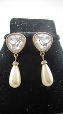 Lovely Swar0Vski Crystal Pierced Earrings With Dangling Drop Pearl 552