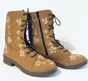 Women's Boots UK Size 7 Brown Tan Faux Suede Embroidered Flowers Flats