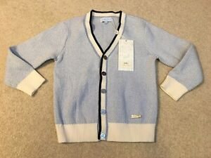 Nicholas & Bears Cardigan Sweater Front Buttons Blue White Size 4Y 110 NEW