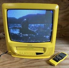 "Amarillo 14"" Matsui TV Monitor Crt Vhs Combo Cubo Vintage Para Juegos Con Control Remoto/Scart"