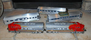 """LIONEL O GUAGE #2343 A-A """"SANTA FE"""" DIESEL LOCOMOTIVES WITH 3 AMT PASSENGER CARS"""