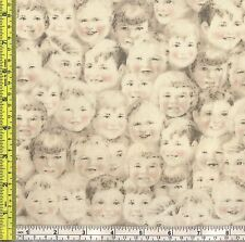 Norman Rockwell Portrait Young Child Face Cotton Fabric 1/4 yd 22.5 cm off bolt