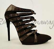 Balenciaga Brown Suede & Snake Strappy Platform Sandal Heels EU 39 US 8.5 $1665