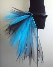 Burlesque Bustle Belt Tutu Black Turquoise Blue Sexy Fancy Dress Size Small