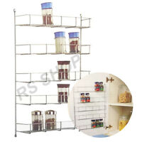 5 Tier Chrome Plated Spice Rack Kitchen Jar Organiser Wall Cabinet Storage