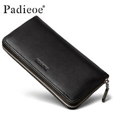 Padieoe Fashion Mens Genuine Leather Wallet Business Long Zipper Clutch Purse