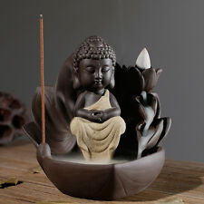 Home Decor Ceramic Backflow Incense Holder Burner Buddha Lotus Free Cones