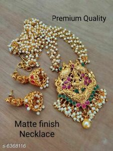 South Indian Women Temple Necklace Set Gold Plated Fashion Wedding Jewelry Gift