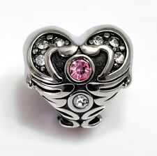 Stainless Steel European Charm Angel Wing Heart Bead With Pink & Clear CZ