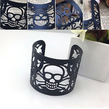 HQ Luxury Metal Big Wide Punk Style Cuff Bangle Skull Bracelet Women Jewelry New