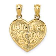 14K Yellow Gold Satin & Polished Daughter Mom Break Apart Heart Pendant