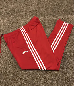 Adidas Tracksuit Bottoms Mens Large Burgundy With White Stripes Active Rare