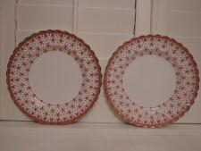 "Vintage Pair Spode Fleur de lys Red 10.5"" Dinner Plates Bone China"