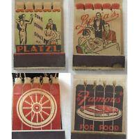 Lot 4 Vintage Full Feature Matchbooks Restaurants New York & Ohio Lion Matches