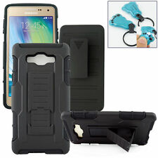 For Samsung Galaxy A7 A700F BLACK RUGGED HYBRID PHONE CASE W/ CLIP HOLSTER GIFT