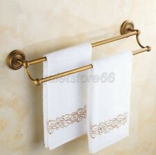 Wall Mounted Antique Brass Bathroom Towel Rack Holder Double Bars qba093