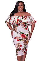 Plus Size Women Fashion Floral Layered Ruffle Off Shoulder Curvaceous Dress
