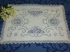 Antique 12 piece Set of Placemats Mixed Lace fine White Linen Hand Embroidery