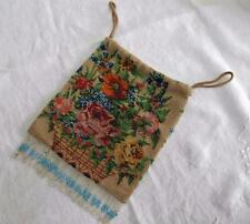 Antique Victorian Beadwork Purse - Figural Micro Beaded - Flower Basket c1900
