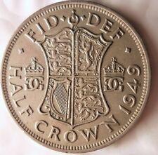 1949 GREAT BRITAIN 1/2 CROWN - Excellent Coin - Britain Half Crown Bin