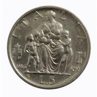 1936 Royaume Italie Monnaie Livres 5 Empire Famille Vitt. Em. III Argent MF60790