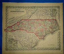 Antique 1862 Colton Atlas Map ~ NORTH CAROLINA ~ Old Original ~ Free S&H